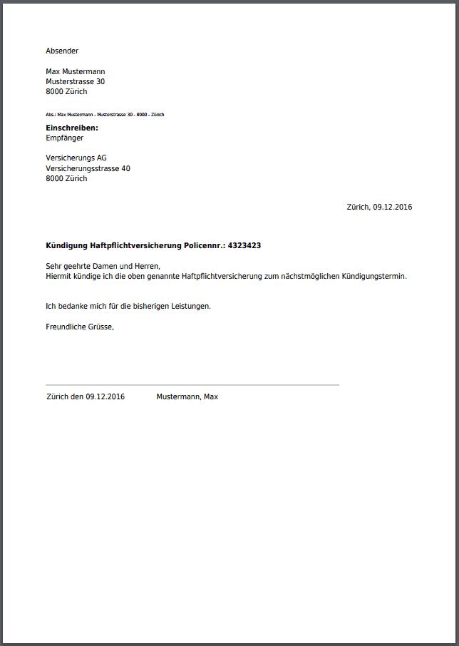 Kündigung für Haftpflichtversicherung kostenlos als PDF
