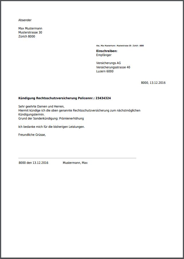 Kündigung Für Rechtsschutzversicherung Kostenlos Als Pdf