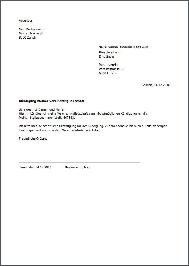 Kündigung Für Vereinsmitgliedschaft Kostenlos Als Pdf