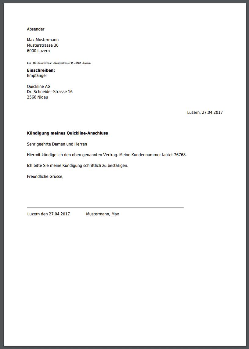 quickline kndigung muster - Muster Kundigung Vertrag