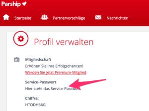 Parship kündigen - Wo du dein Service Passwort findest