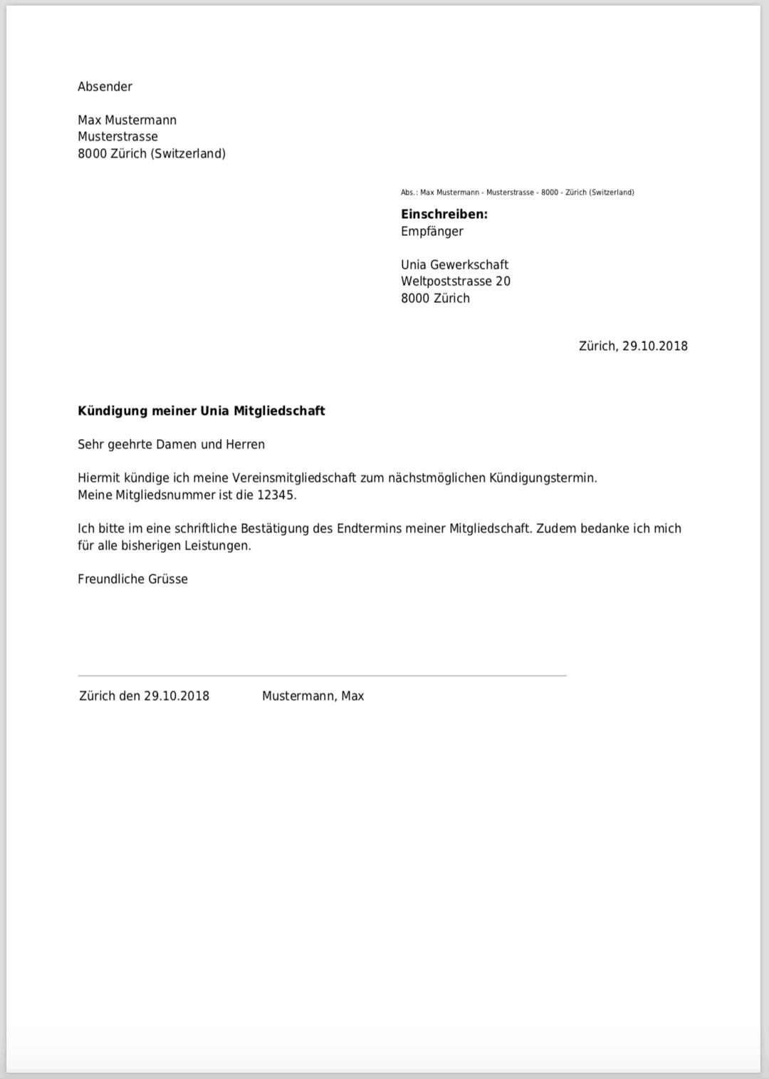 Kündigung für Unia Mitgliedschaft kostenlos als PDF erstellen