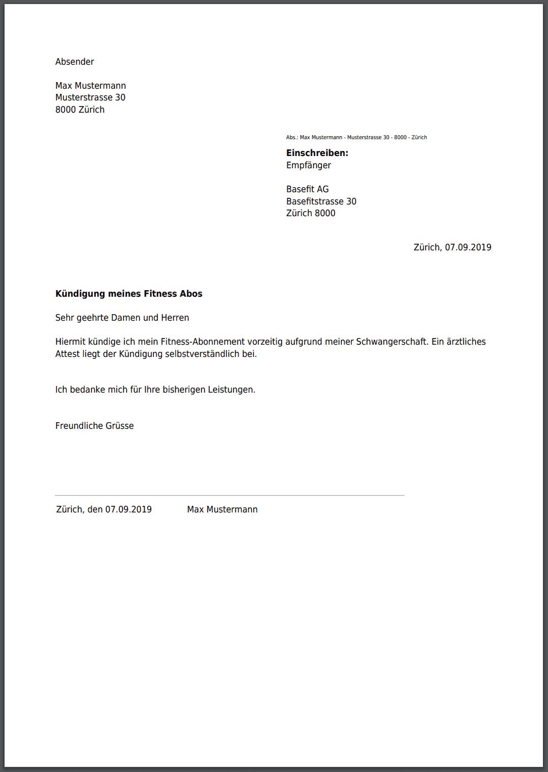 Mitgliedschaft vorlage kostenlos kündigung Clever Fit